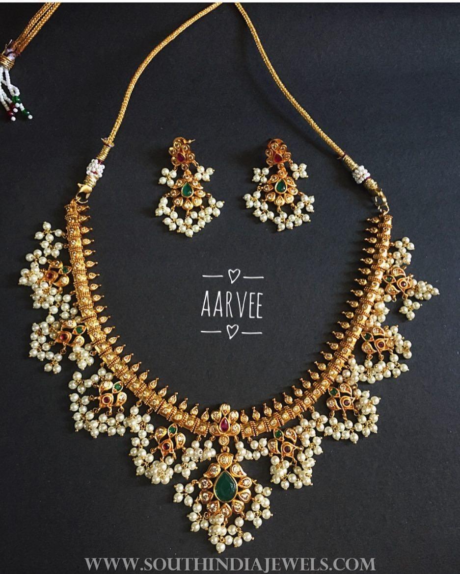 Imitation guttapusalu necklace aarvee chennai