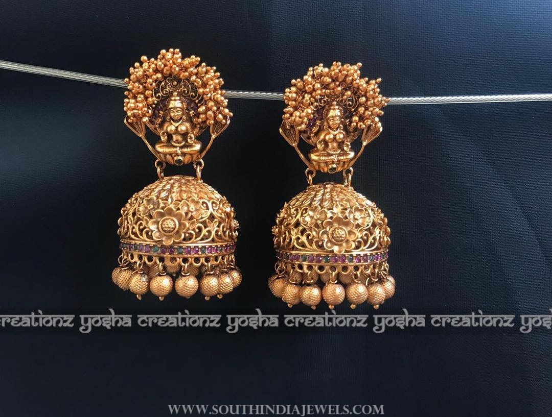 Matt finish antique temple jhumka yoshacreationz