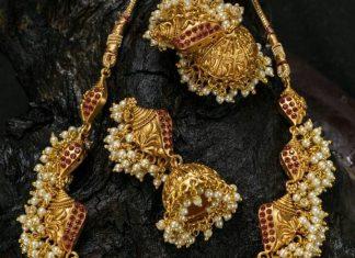 Matt finish ganesh necklace kruthika jewellery