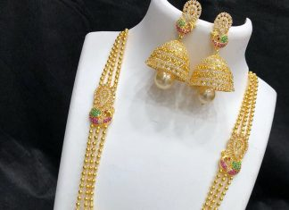Matt finish long necklace set Kovai collections