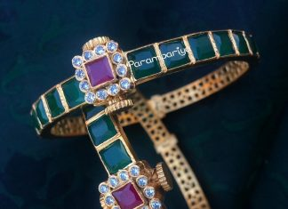 Pure silver gold plated emerald bangle parampariya