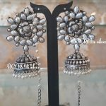 Silver Oxidized Pearl Jhumka With Pearl Mattal From Bcos Its Silver
