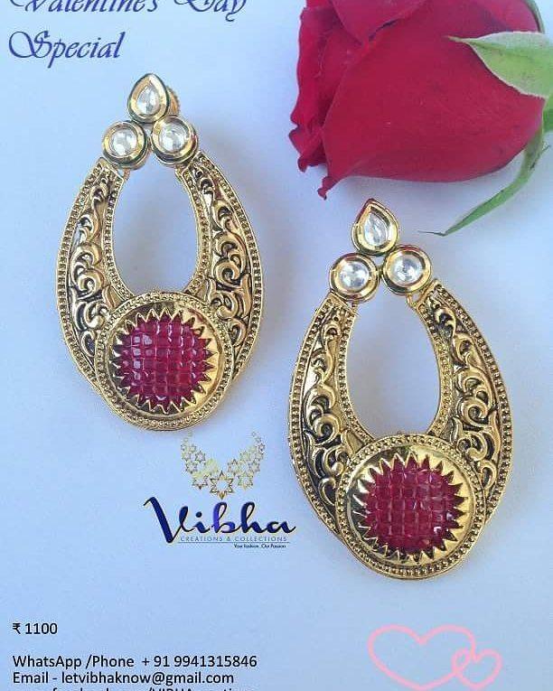 Stunning Kundan square cut ruby balis Vibha Creations