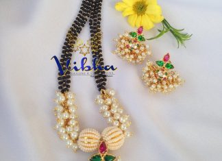 Unique- black beads chain with earrings Vibha Creations