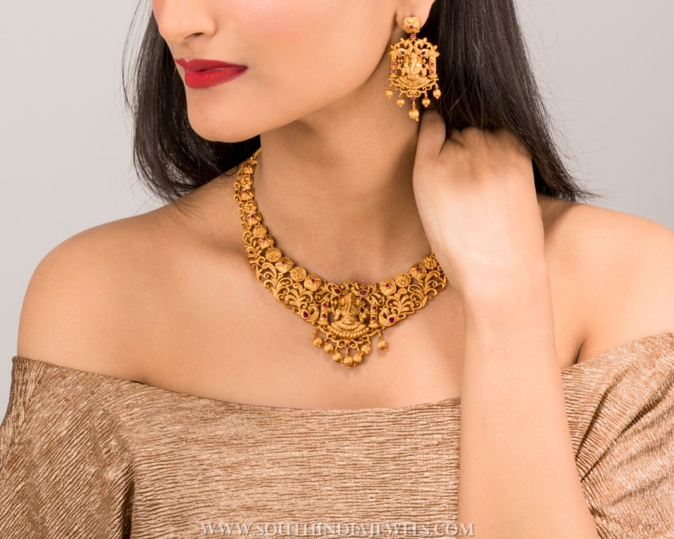 gold plated matt finish temple necklace tarinika