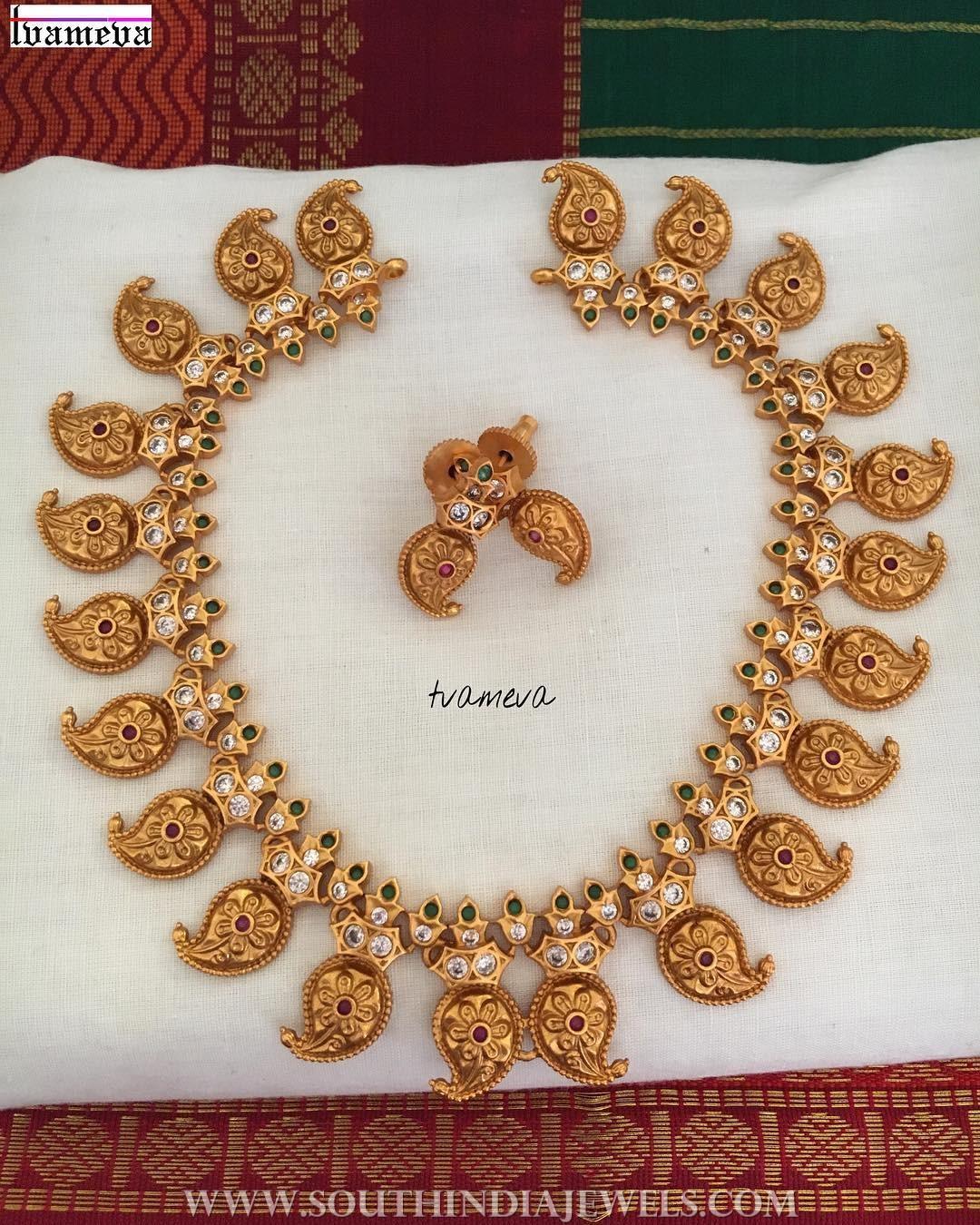 matt finish gold plated mango necklace tvameva