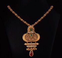 simple Gold necklace vummidi bangaru jewellers