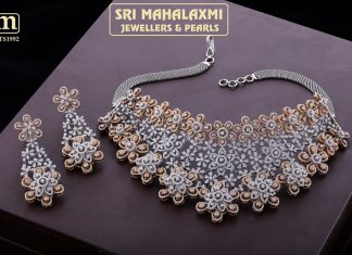 Attractive Diamond-Necklace From Mahalakshmi Jewellers and Pearl