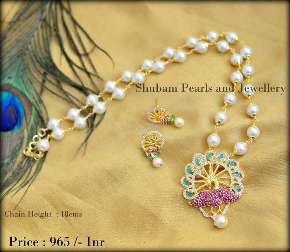 Beaded Chain With Peacock Pendant From Shubam Pearls & Jewellery