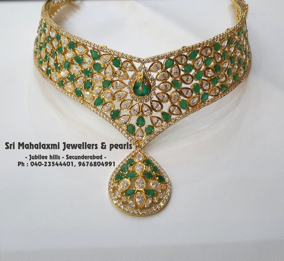 Designer Choker From Mahalakshmi Jewellers and Pearls