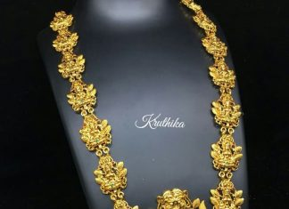 Gold Finish Lakshmi HaramFrom Kruthika Jewellery