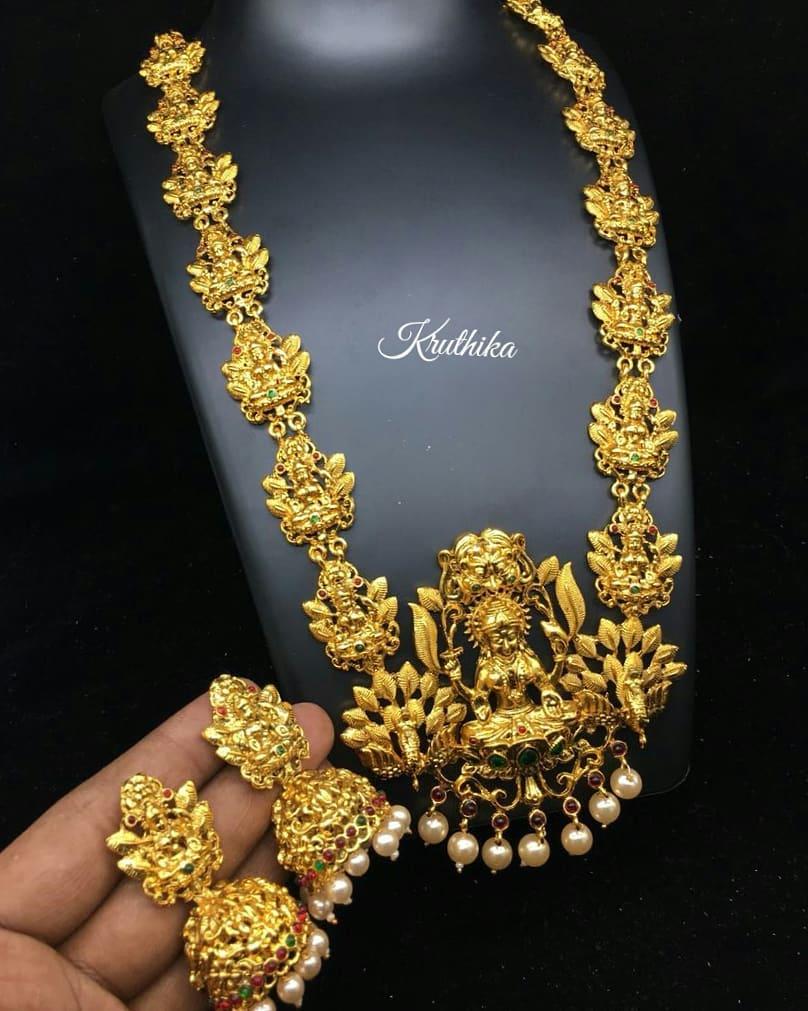 Gold Finish Lakshmi HaramFrom Kruthika Jewellery