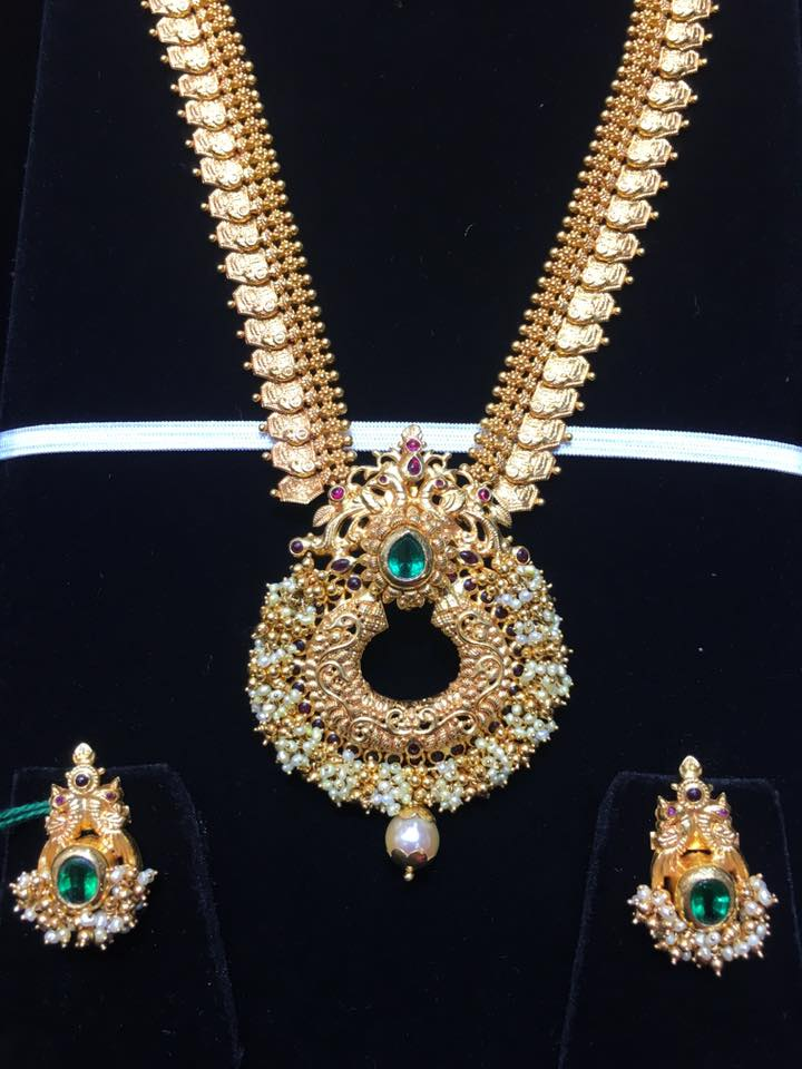 Gold Long Necklace Set From Bhavani Jewellers