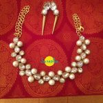 Necklace Set With Thick Stones And Pearls From Surasha