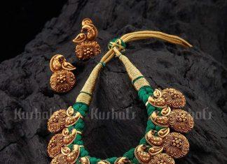 Beauiful Threadwork Necklace Set From Kushal Fashion Jewellery