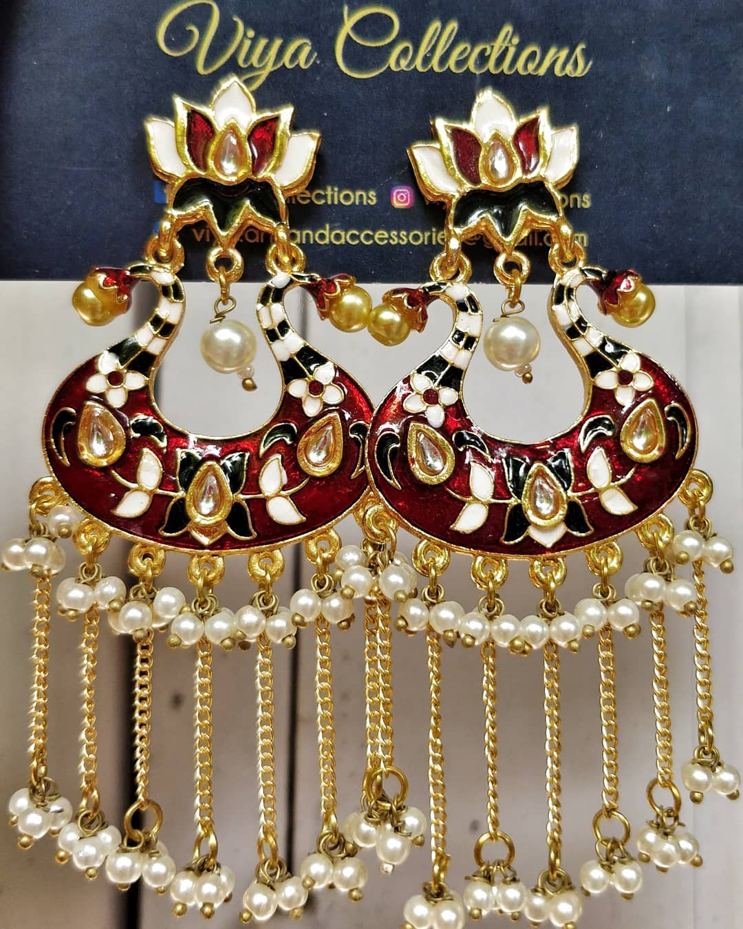 Beautiful enamel coated pearl earrings From Viyacollections