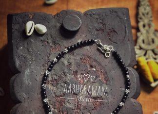 Black Beaded Necklace From Aabharanam
