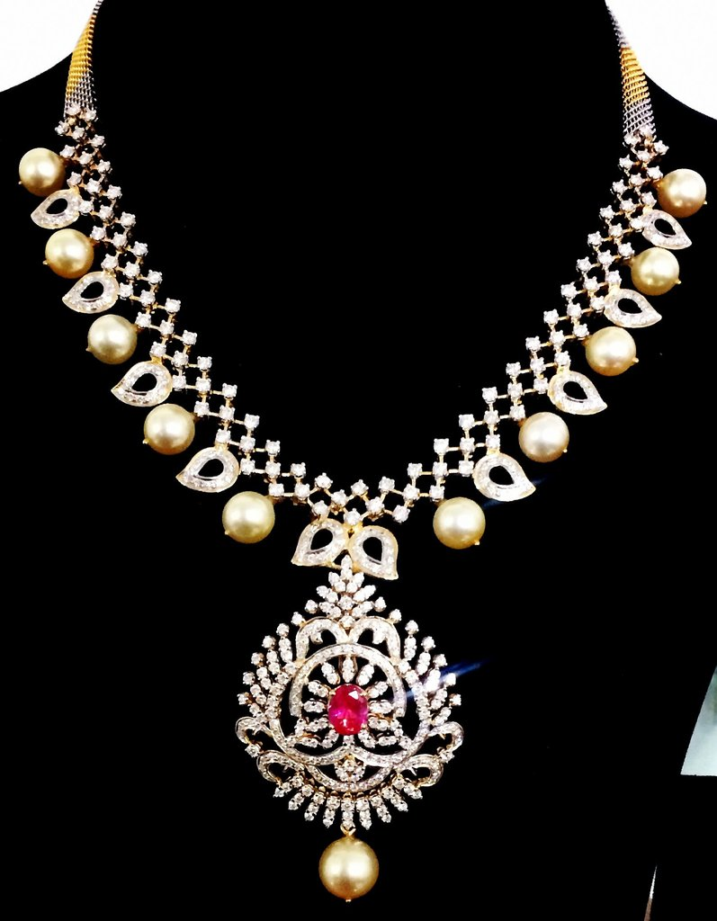 Diamond Necklace With Sea Pearls From Parnicaa