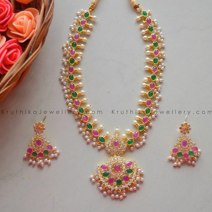 Gold Finished Ruby Emerald CZ Necklace