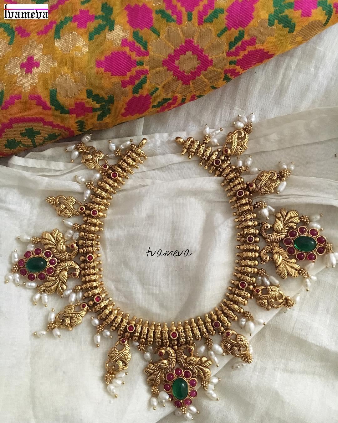 Silver Gold polish Guttapoosalu necklace From Tvameva