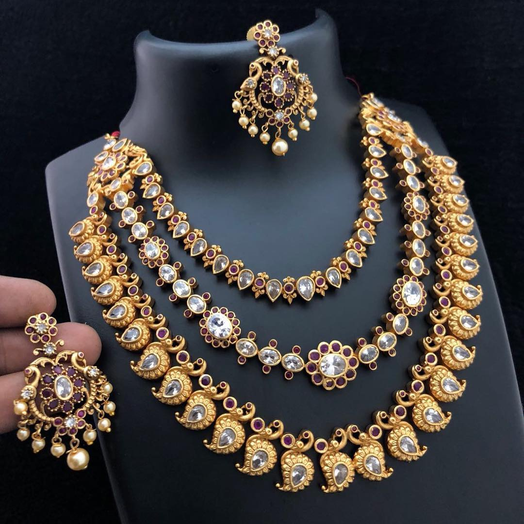 3 Layer Gold-Plated Matt Finish Necklace From Accessory Villa