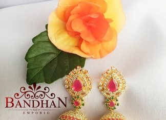 Adorable CZ Stone Jhumkas From Bandhan