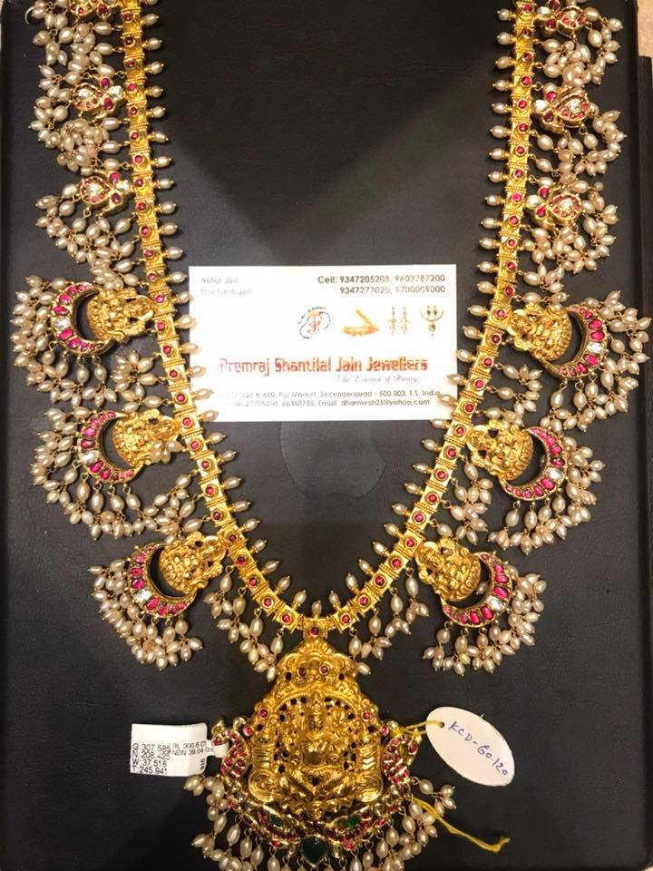 Decorative Gold Long Temple Neklace From Premraj Shantilal Jain