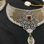 Gold CZ Stone Choker From Premraj Shanthilal Jain Jewellers