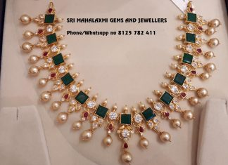 Gold Stone Necklace From Mahalakshmi Jewellers