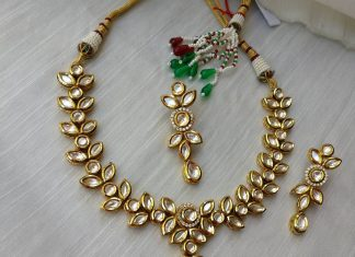 Kundan leaf drop necklace set From Rimli Boutique