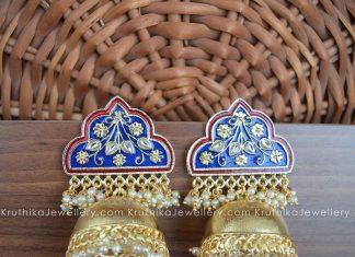 Meenakari Jumbo Jhumkas From Kruthika Jewellery