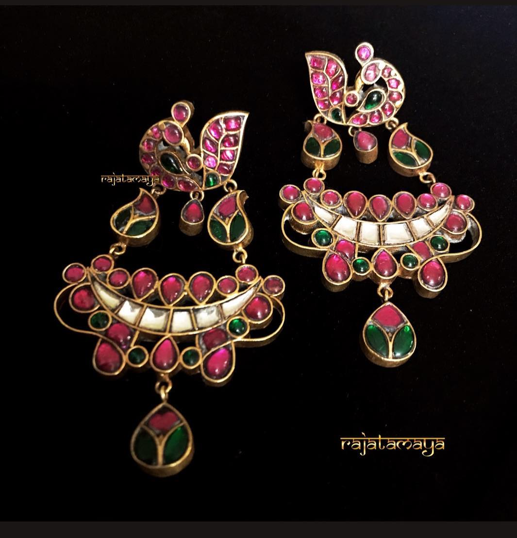 Silver Handmade Peacock Earrings From Rajatamaya