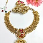 Traditional Ruby Stone Pearl Necklace From Viyacollections