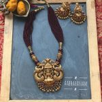 Antique Gold Finish Lakshmi Necklace From Aabharanam