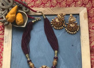 Antique Gold Finish lLakshmi Necklace From Abharanam
