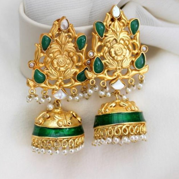 Brass jhumka with pearls Aatman India