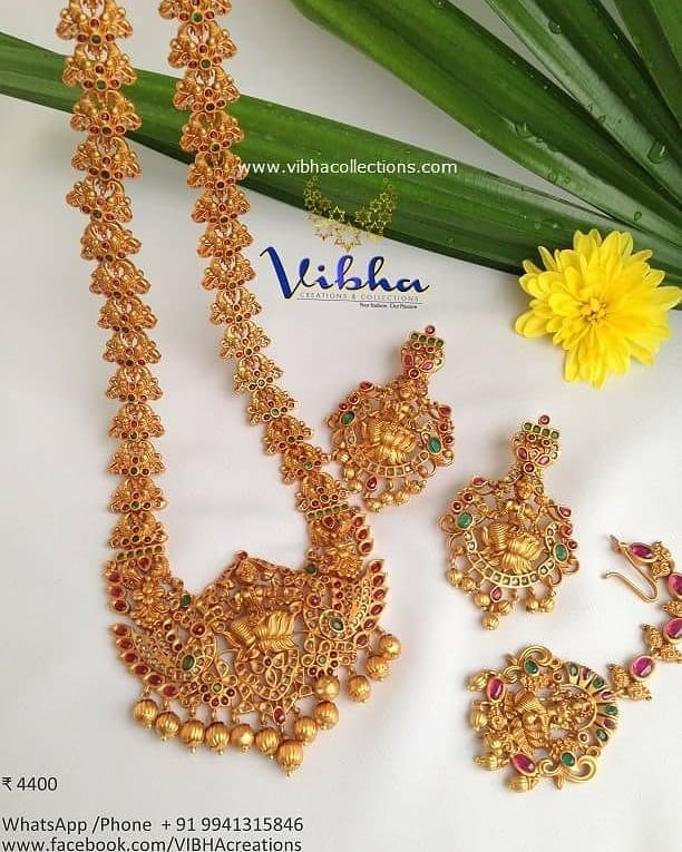 Decorative Temple Necklace Set From Vibha Creations