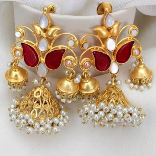 Meenakari Pearl Brass Jhumkas Aatman India