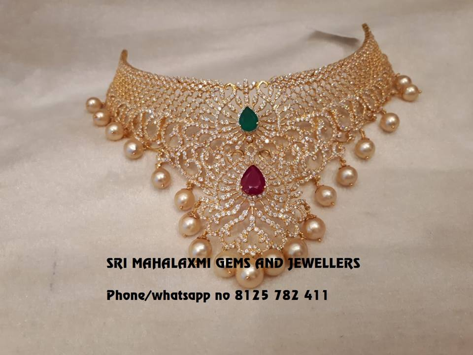 Precious Diamond Choker From Mahalakshmi Gems And Jewellers