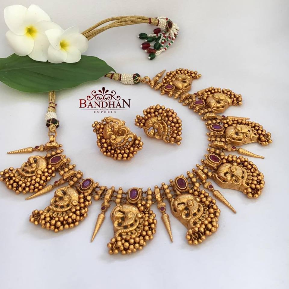 Precious Peacock Necklace Set From Bandhan