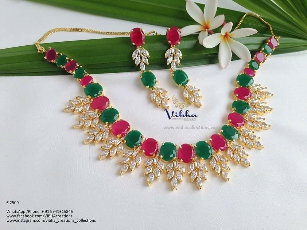 Stunning AD Necklace Collections From Vibha Creations