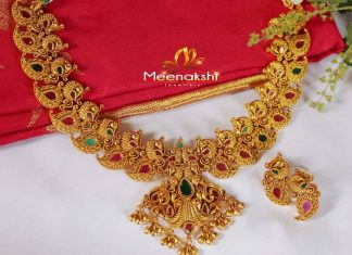 Antique finish Peacock Necklace From Meenakshi Jewellers