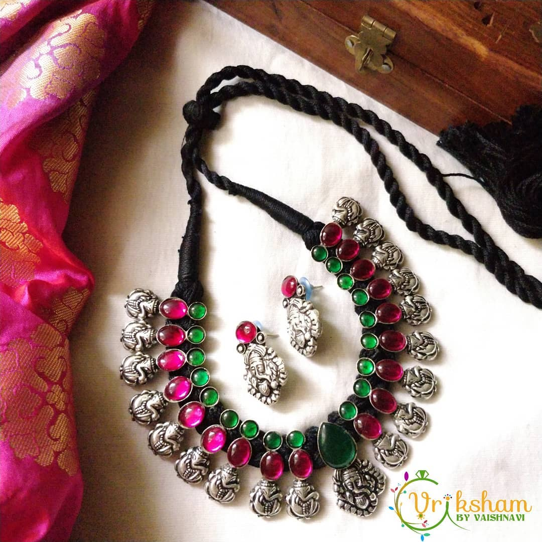 Cute Temple Necklace Set From Vriksham