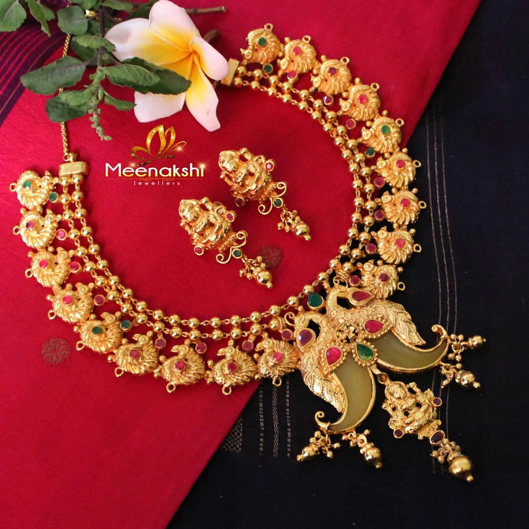 Exotic GoldPlated Laskhmi Necklace From Meenakshi Jewellers