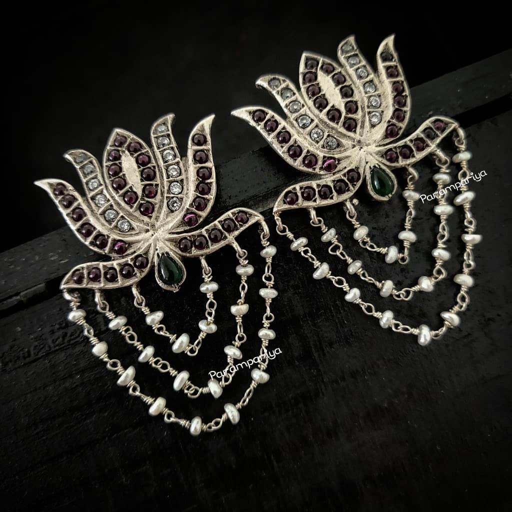 Lovely Lotus Pearl Dangler From Parampariya