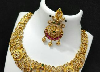 Matte CZ Cutwork Necklace From Kruthika Jewellery