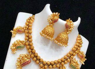 Matte Finish Ganesha Necklace From Kruthika Jewellery