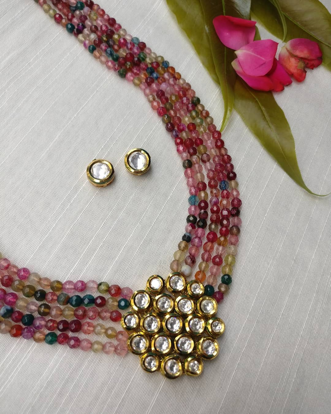 Multicoulour Beads With Kundan Necklace From Rimli Boutique