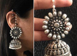 Precious Pearl Silver Jhumka From Aham Jewellery