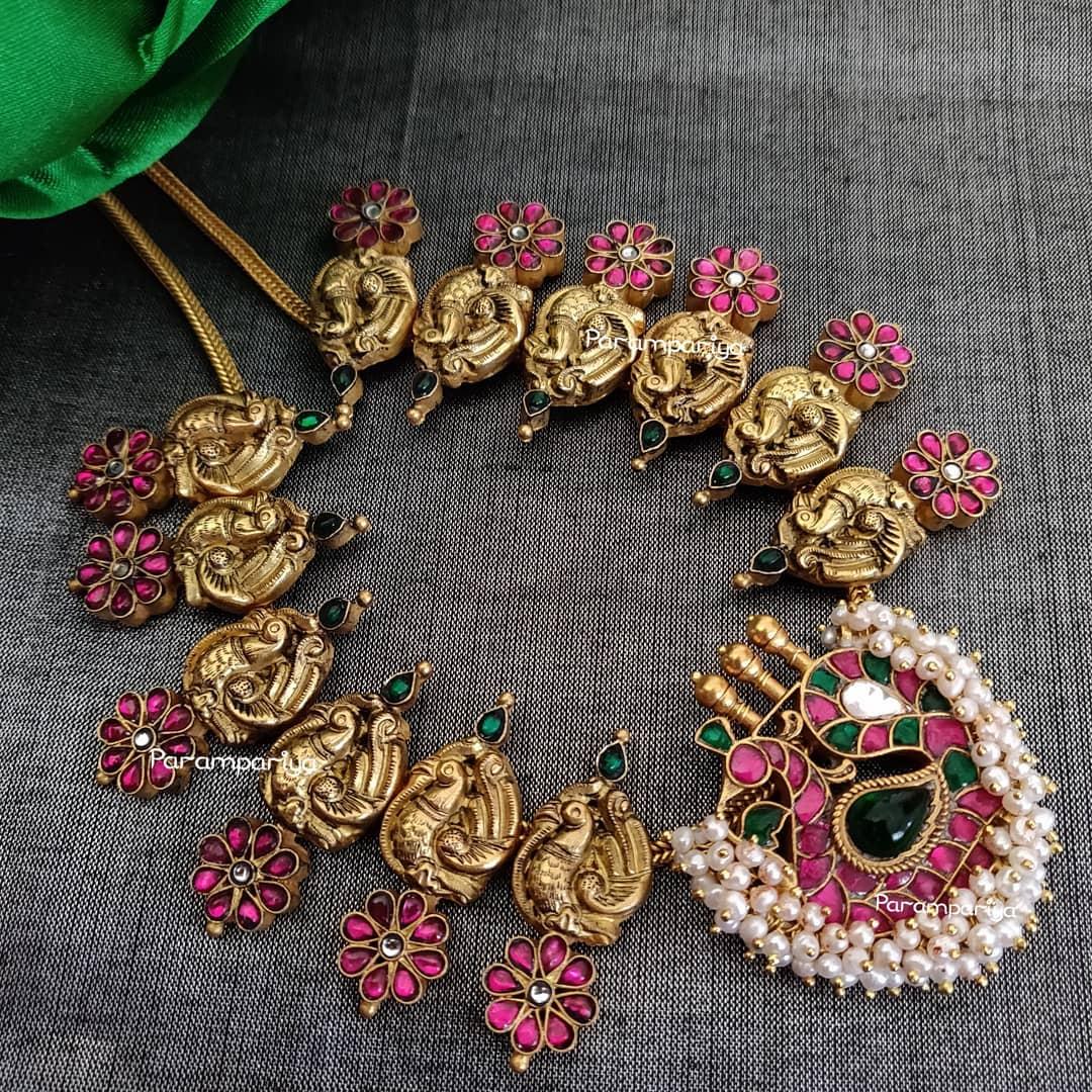 Pretty Peacock Silver Necklace From Parampariya